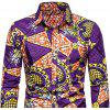 Men's  Autumn and Winter National Wind Long Sleeve Large Size Casual Shirt - MULTI-P