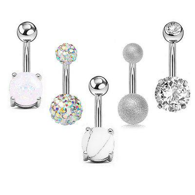 Zircon Belly Navel Ring Aobao Belly Navel Ring  Combination Suit 5pcs