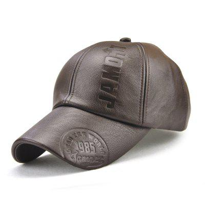 PU Leather Autumn and Winter Baseball Cap + Adjustable for 56-59CM