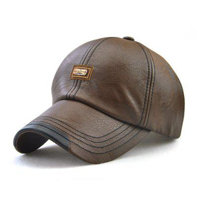 Autumn and Winter Baseball Cap Leather Fashion Cap + Adjustable for 56-59CM