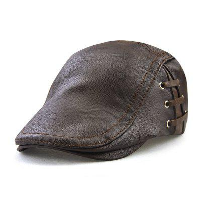Leather Cap Personalized Piercing Strap Beret + Adjustable for 56-59CM