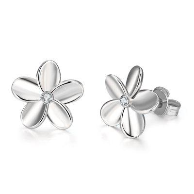 Fashionable Platinum Europe and America Popular Simple Flower Ear Studs
