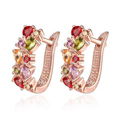 K Gold Zircon Fashion Selling Zircon Coloré Lady Oreille Fermoir