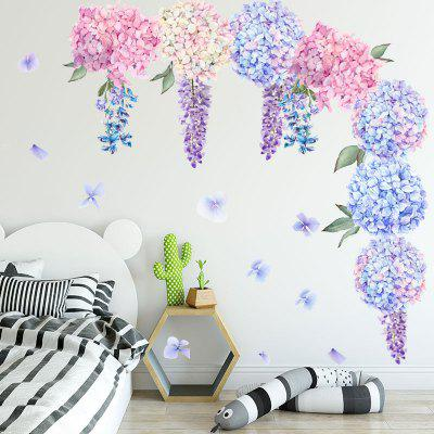 Purple Flower Ball Movable PVC Window Film Wall Stickers -2Pcs