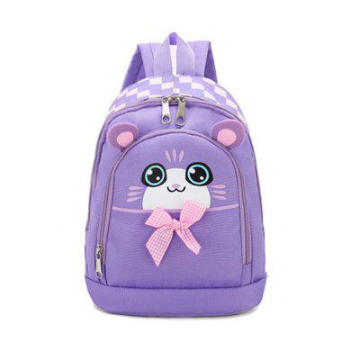Kids Gingham Bow Decor Cute Cartoon Cat Print Backpack Bag