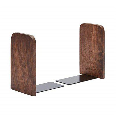 Non-Skid German Beech Wood and Steel Bookend for Office 1 Pair