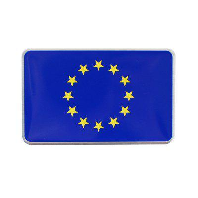 3D Aluminum European Union Flag Badge Emblem Sticker Car Metal Sticker 1 PC
