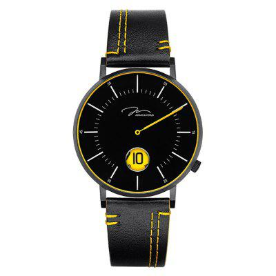 JONAS VERUS D41.10.BBLBY with Black Case and Black Calf Strap(Yellow) Watch