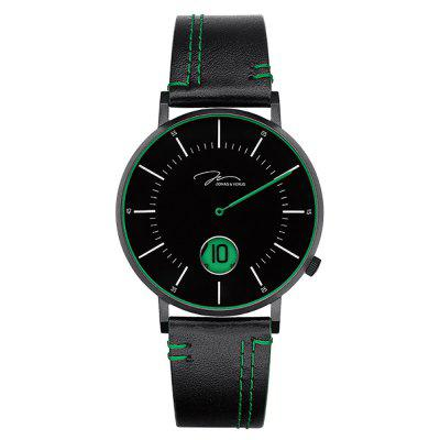 JONAS VERUS D41.10.BBLBN with Black Case and Black Calf Strap(Green)Watch
