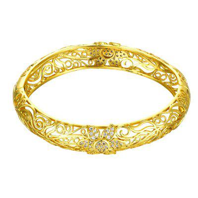 Fashion K Gold Zircon Carving Pattern Female Gold Bracelet