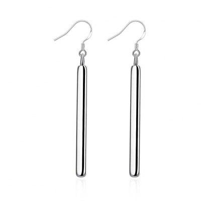Straight Geometric Silver Earrings
