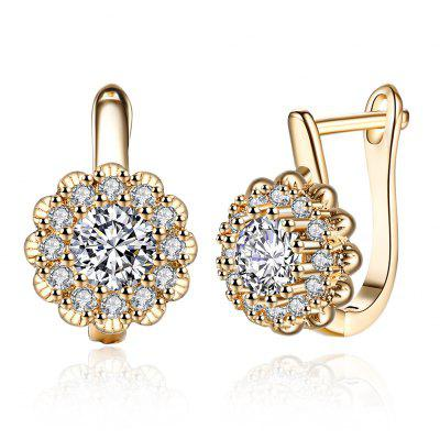 K Gold Zircon Earring Buckle Romantic Diamond Set Earring Clip
