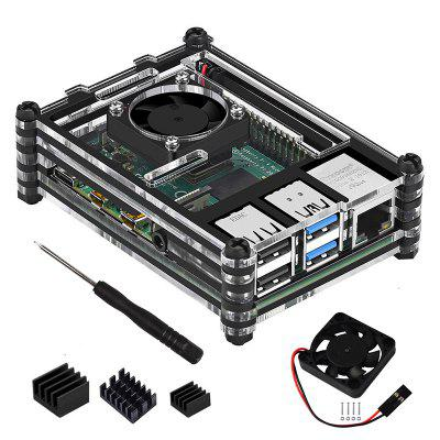 Acrylic Case with Cooling Fan Heatsinks for Raspberry Pi 4