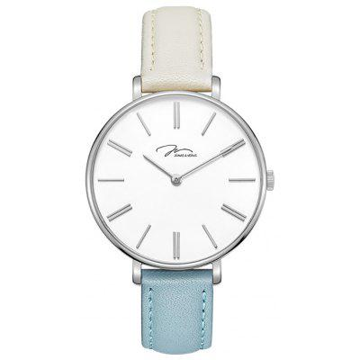 JONAS VERUS X01855-Q3.WWWDWL with Silver Case and White and Blue Strap Watch