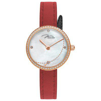 JONAS VERUS L25.11.PWLRD White Mother of Pearl Dial with Zircon Red Strap Watch