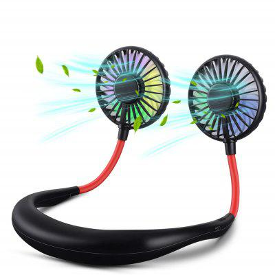 Hand Free USB Charging LED Light Outdoor Portable Mini Sports Neck Band Fan