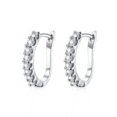 Fashionable K Gold Fashionable Diamond-Set Earring Buckle Platinum Plated