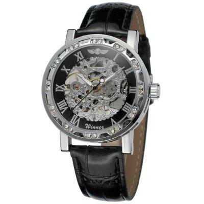 Winner-W614 Fashion Diamond Luminous Pointer Retro Men'S Hollow Mechanical Watch