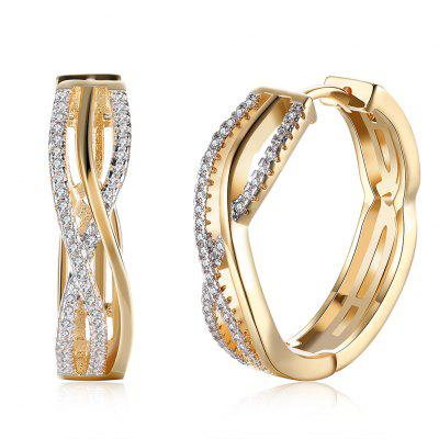K Gold Zircon Earring Wire Stripe Diamond-Studded Romantic Wind Earring