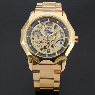 WINNER U8061 Men'S Fashion Casual Steel Belt Mechanical Hollow Watch
