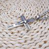 Stainless Steel Beaded Cross Men Pendant Necklace - SILVER