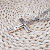 Beaded Stainless Steel Cross Mens Pendant Necklace - PINK