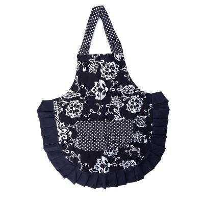 Apron with A Belt Black Background White Flowers