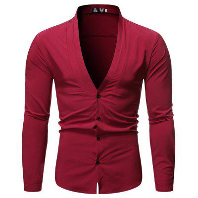 2019 Autumn New Men's Solid Color Stand Collar Long-sleeved Shirt