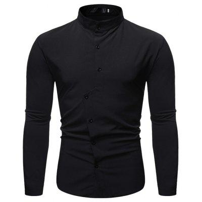 2019 Autumn New Men's Solid Color Casual Stand Collar Long-Sleeved Shirt