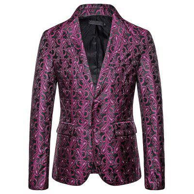 2019 Outono Novo Design Dark Print Two-button Moda Suit Blazer Moda Masculina