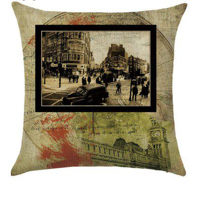 Landmark Building Comfortable Linen Pillowcase for Cushion  Bedroom Living Room