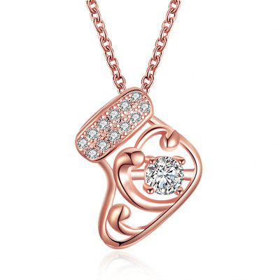 Christmas Rose Gold Zircon Necklace Fashion Socks Look Necklace