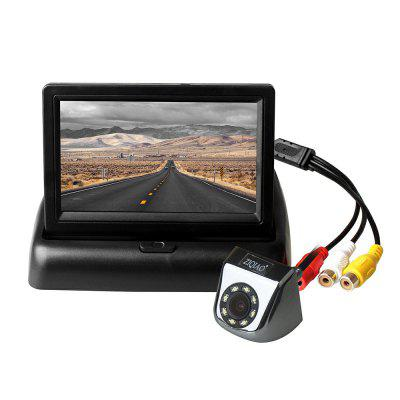 ZIQIAO 4.3 Inch Folding Monitor and 8 LED Lights Car Rear View Camera Kit