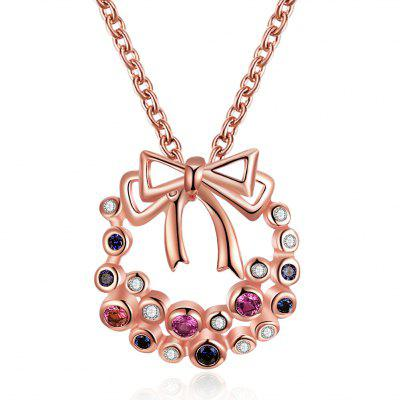 Colorful Zircon Christmas Necklace with A Bow for Women