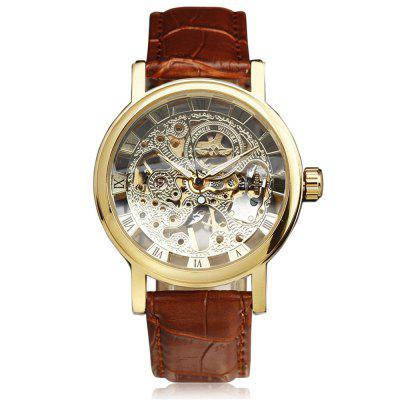 WINNER W104 Belt Manual Casual Hollow Roman Scale Mechanical Watch