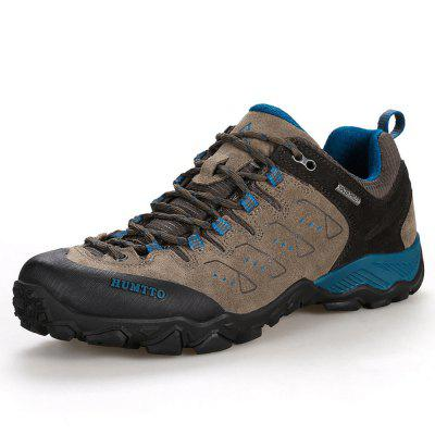 HUMTTO Men Hiking Shoes Outdoor Breathable Cushioning Trekking Leather Shoes