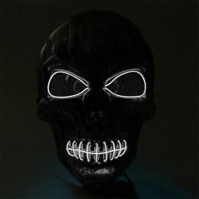 Halloween Horror Mask Black Bloody Thriller Head Glowing Mask LED Prom