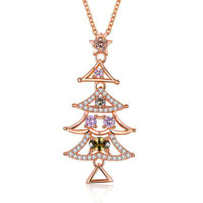 Colorful Zircon Necklace Christmas Tree Necklace