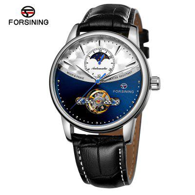 FORSINING TM339 Sun and Moon Display Belt Automatic Mechanical Watch