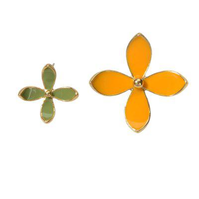 Fashion Drip Glazed Asymmetric Four Leaf Flower Earrings 2PCS
