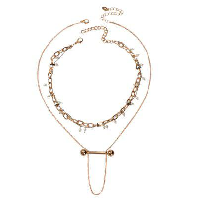Collier de chaîne de perles en alliage double couche d'or de la mode 2PCS