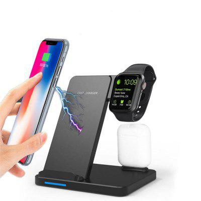 3 In1 Qi Wireless Charger Stand Station For iPhone/ Apple Watch/Airpods/Samsung