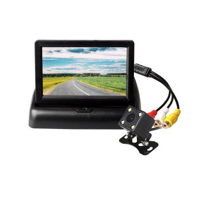 ZIQIAO 4.3 Inch Folding Monitor and 4 LED Lights Car Rear View Camera Kit