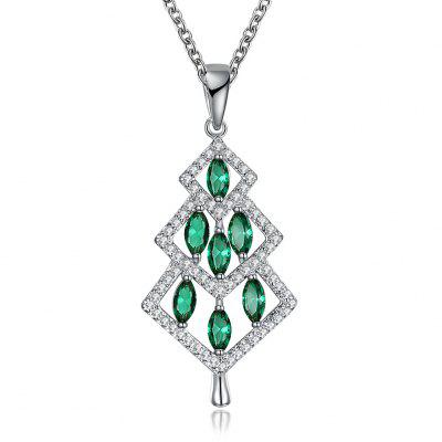Ornaments Women Fashion Necklace Green Zircon Christmas Necklace 18 Inches