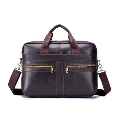 LAOSHIZI LUOSEN Men's Top Layer Leather Portable Multifunctional Briefcase OEM