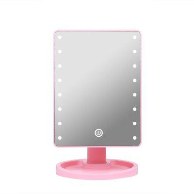 LED Makeup Mirror Desktop Touch Screen with Light Rotating Square Mirror
