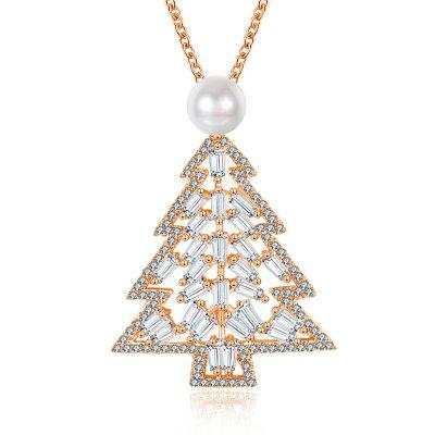 Collier Zircon Christmas Christmas Tree Necklace