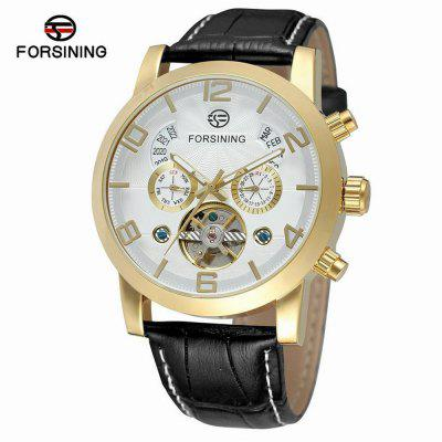 Forsining A165 Belt Business Casual Automatické Tourbillon Hollow Mechanical Watch