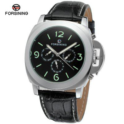 FORSINING A005 Men'S Leather Multifunction Luminous Mechanical Watch