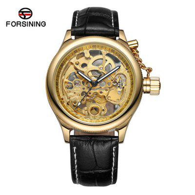 FORSINING F206 Leather High-Grade Movement Through The Hollow Mechanical Watch